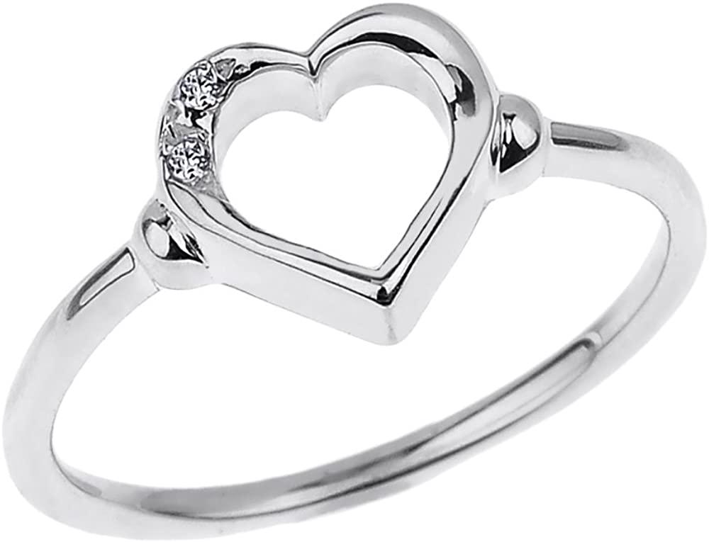 Fine 10k White Gold Dainty Band 2-Stone Diamond Open Heart Ring