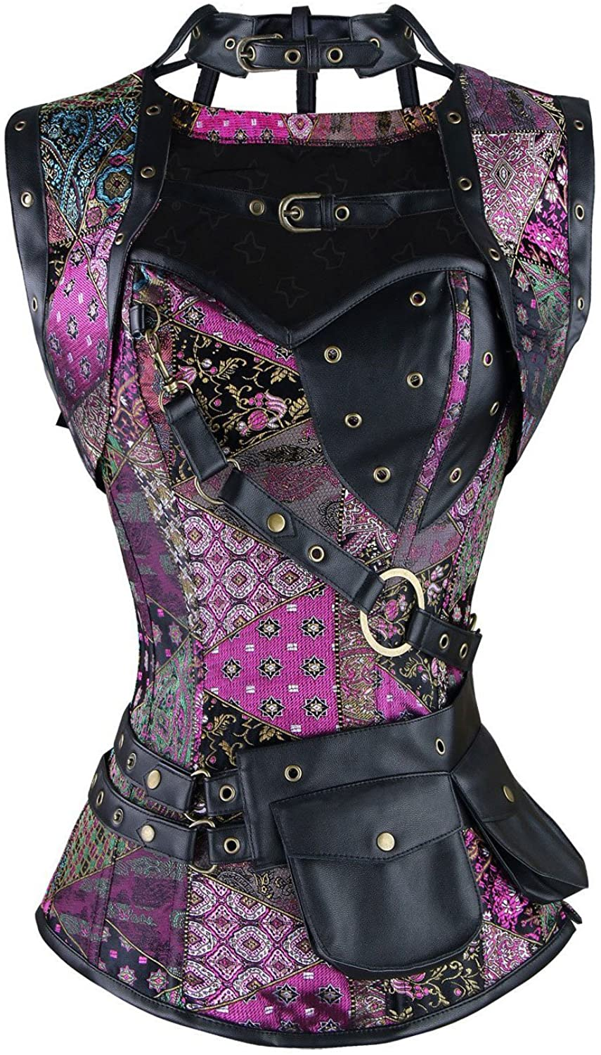ZAMME Womens Steampunk Brocade Bustiers and Corsets with Pouch Belt