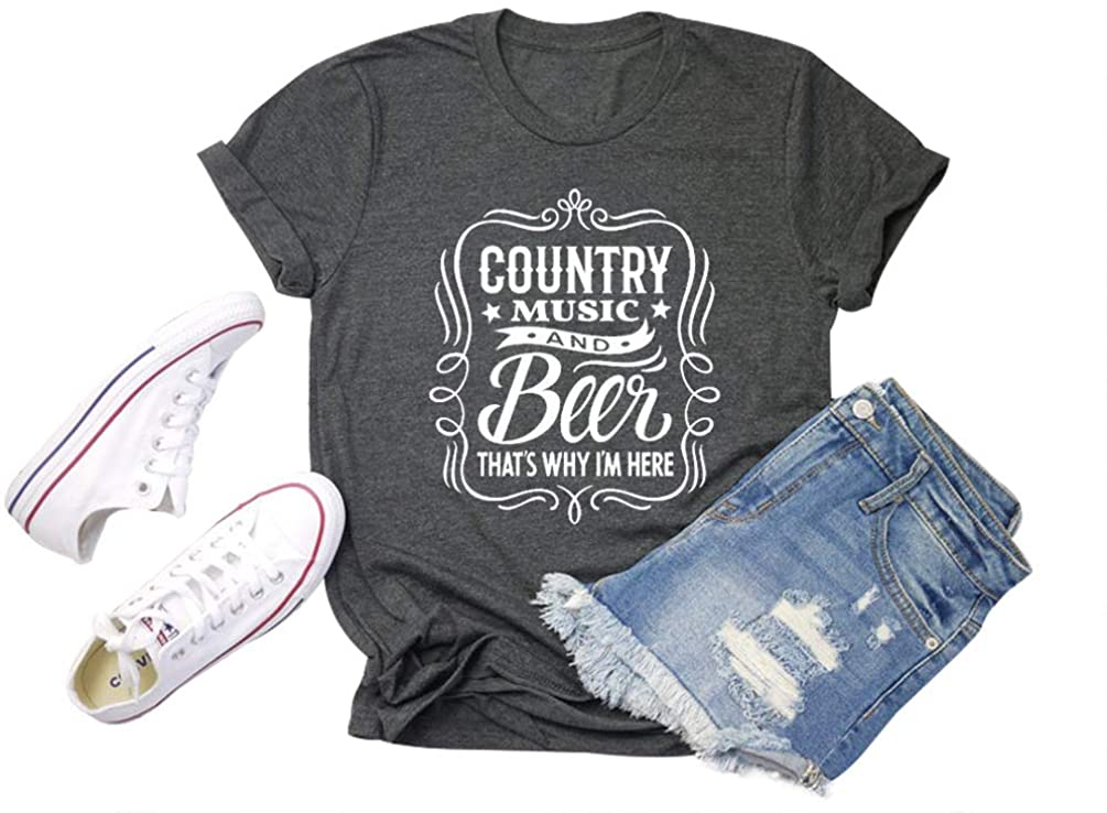 Country Music and Beer Thats Why Im Here T Shirt Women Letter Print Short Sleeve Beer Tees Casual Top Shirts