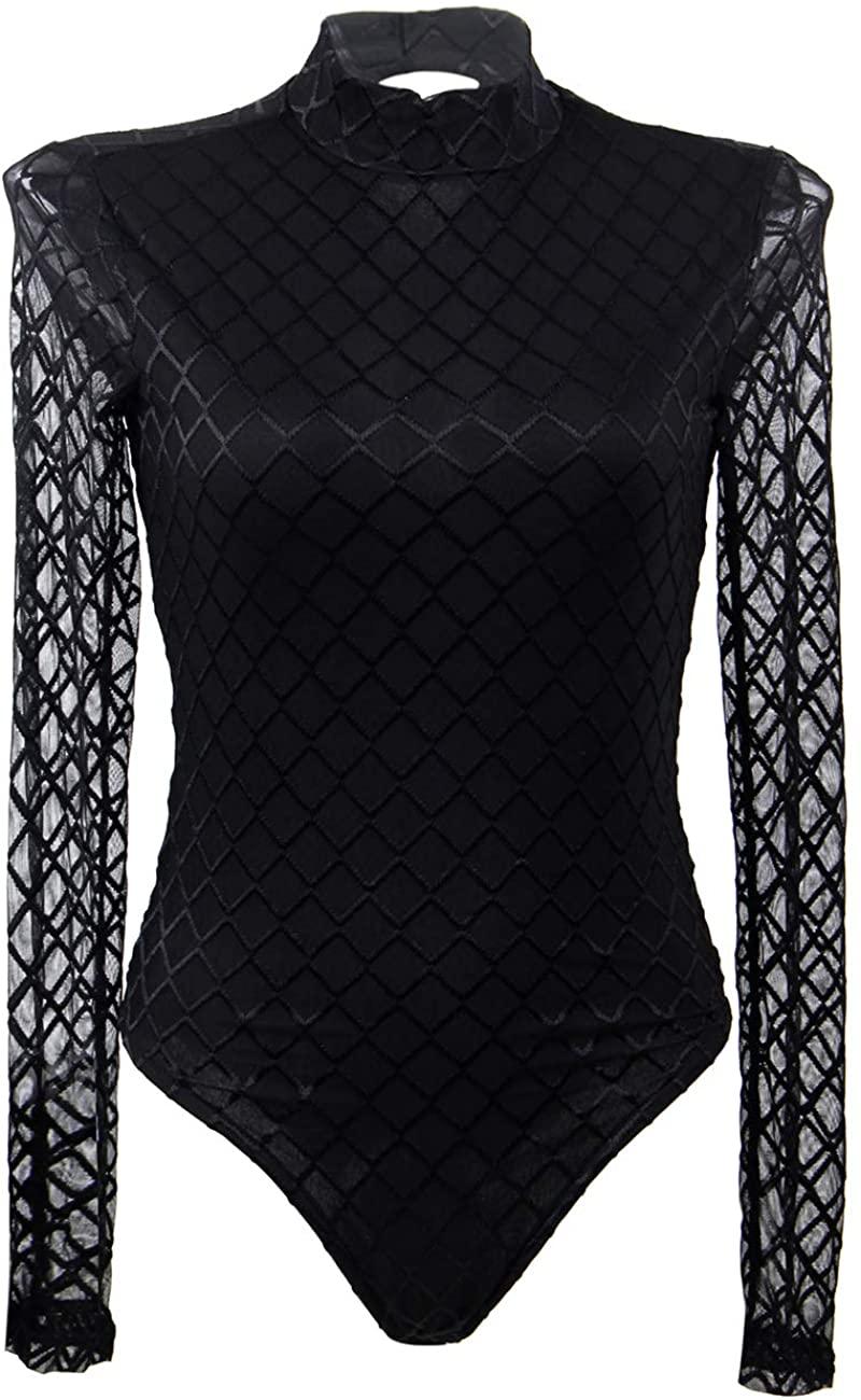 ohyeahgirl Women's Long Sleeve Bodysuit Mock Neck Mesh Lace Basic Bodycon Leotard Top Black M