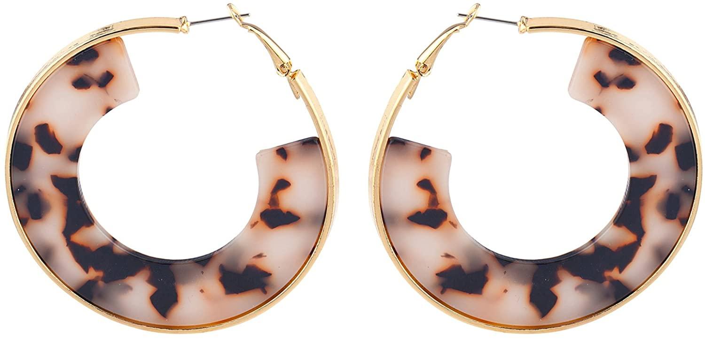 Lux Accessories Gold Tone Brown Tortoise Hoop Half circle Earrings for Women
