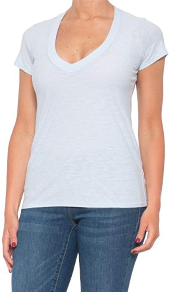 James Perse Women's Relaxed Casual V-Neck Short Sleeve Shirt