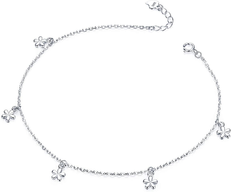 Van Chloe Women Bracelet 925 Sterling Silver Flower Anklet Ankle Bracelet Jewelry for Women