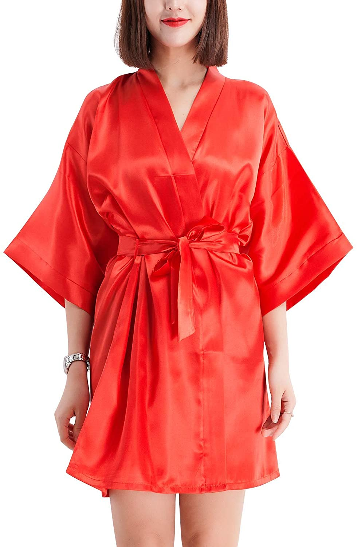 Women's Dressing Gown Kimono Bathrobe,Silky Satin Kimono Bathrobe Bridesmaid Pure Color Short Style Red