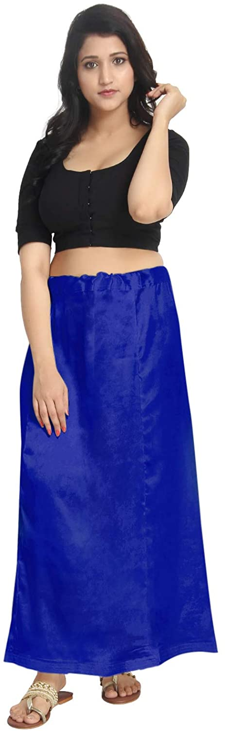 Satin Blue Indian Saree Petticoat Stitched Underskirt Undercoat Adjustable Waist Sari Skirt Quilted PS
