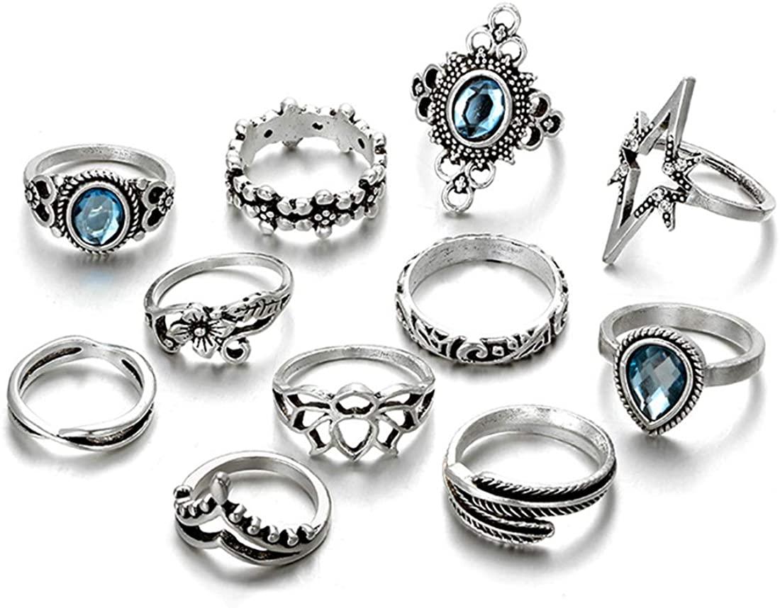 LYNCYMBER 11pcs Boho Knuckle Rings Set Multiple Vintage Rose Flower Ring Blue Crystal Star Leaf Finger Stacking Rings for Women