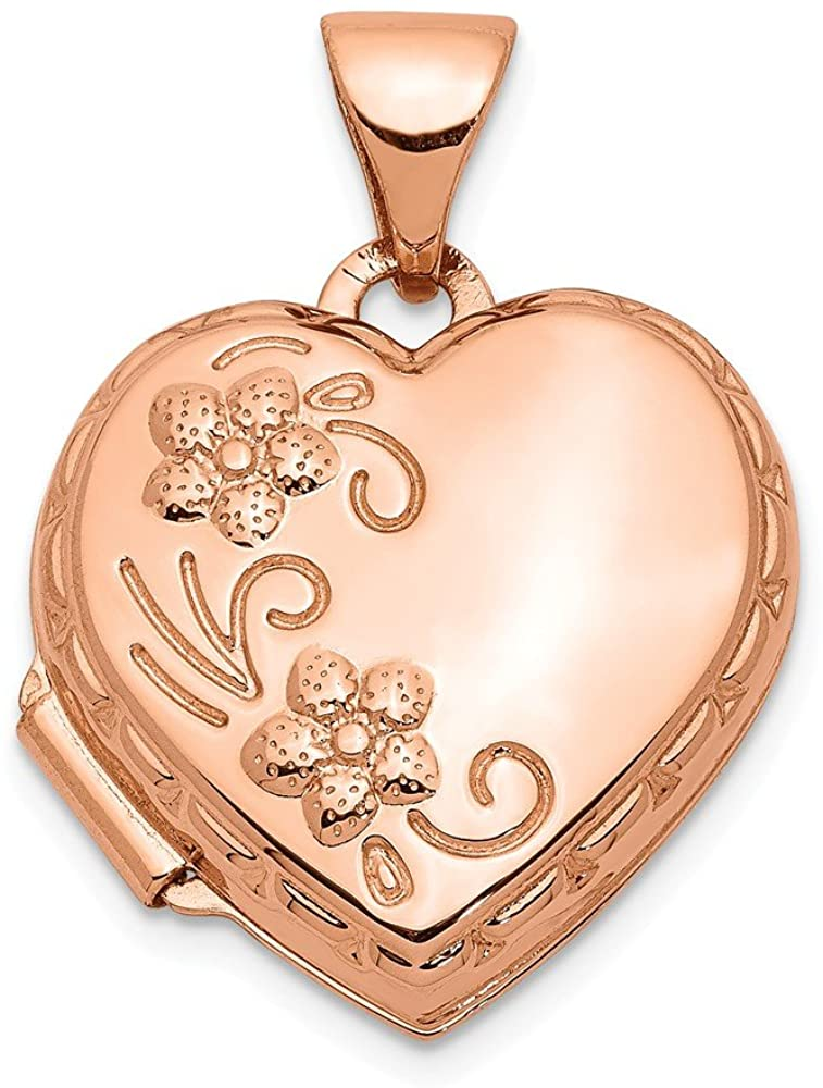 FB Jewels Solid 14K Rose Gold 15mm Reversible Heart Locket