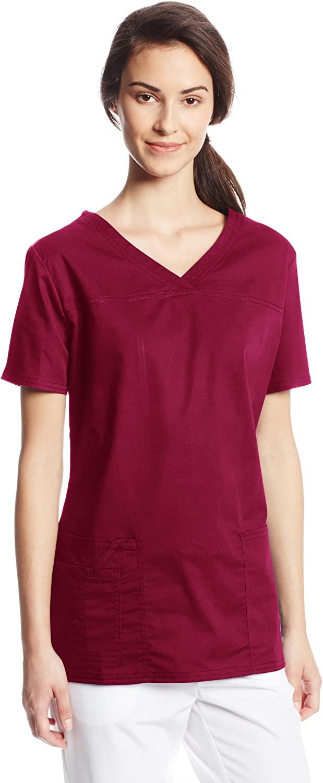 CHEROKEE Women's Workwear Core Stretch V-Neck Scrubs Shirt, Wine, Medium