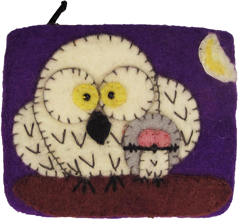 Wild Woolies Womens Fair Trade Felt Coin Purse - Night Owls