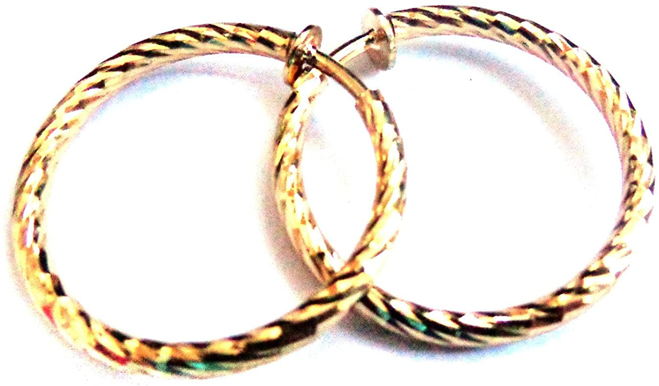 Clip-on Earrings Swirled Pipe Hoop Gold Or Silver Tone 1 inch Hoops Hypo-Allergenic