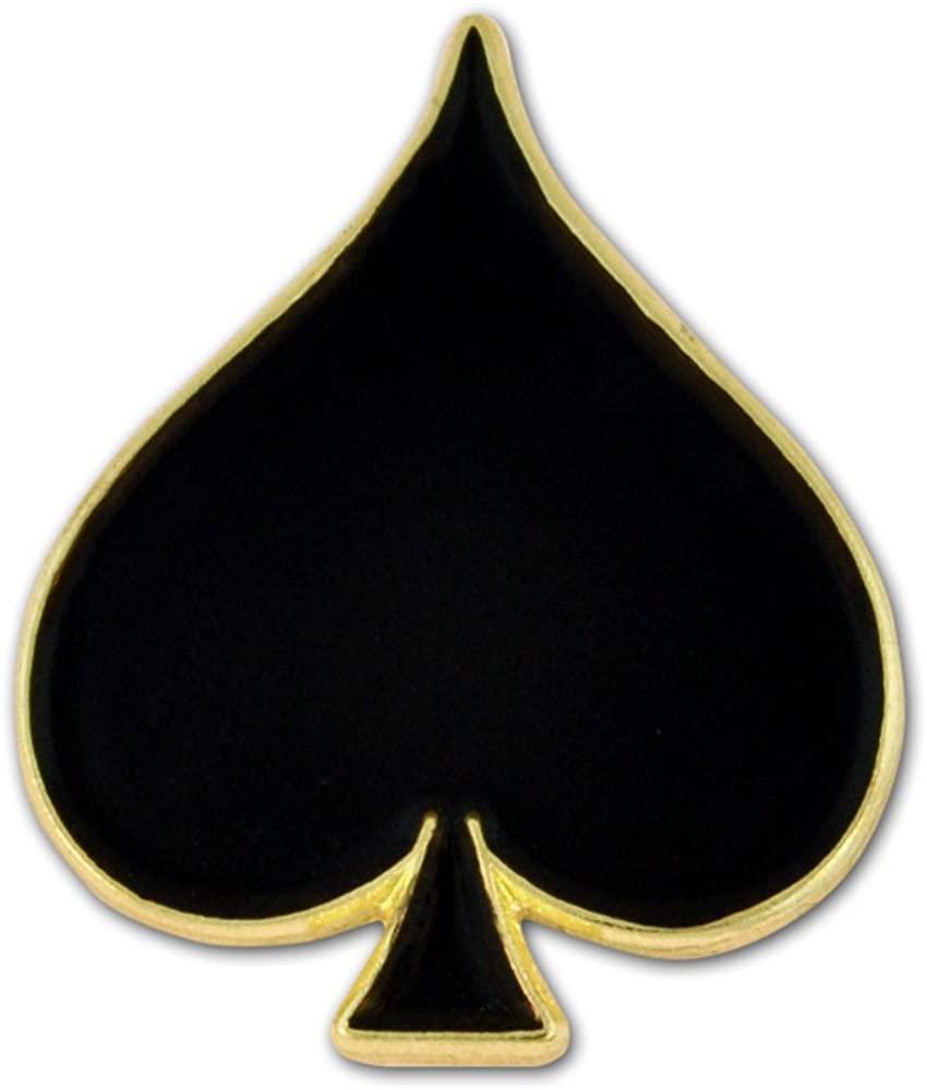 PinMart Black Spade Playing Card Suit Enamel Lapel Pin