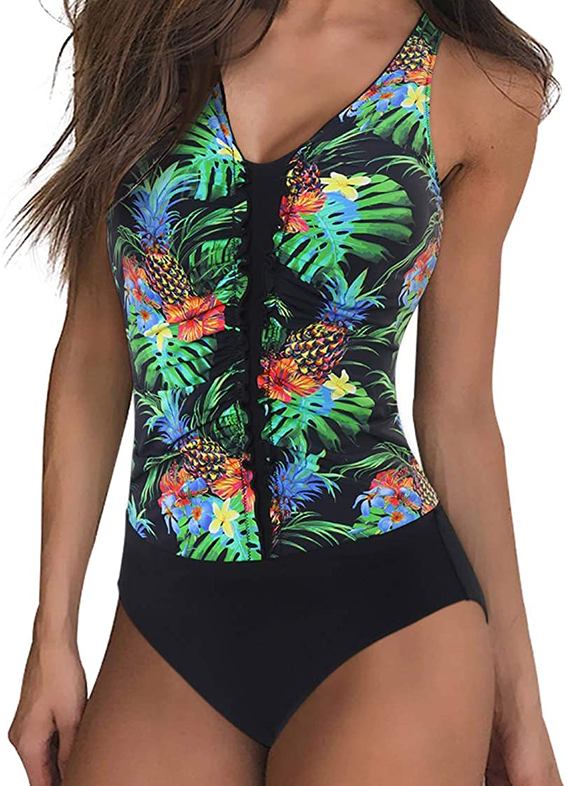 SUUKSESS Women Tummy Control One Piece Swimsuits Plus Size Monokini Bathing Suits