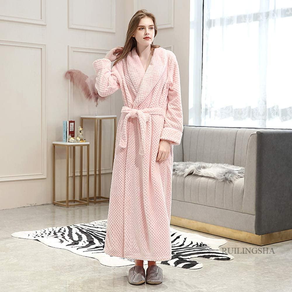 llwannr Winter Robe Women Winter Thermal Long Bathrobe Lovers Thick Warm Coral Fleece Kimono Bath Robe Plus Size Nightgowns Bridesmaid Dressing Gown,Women Pink,L