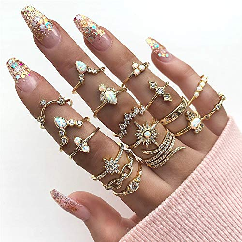 Vinzar Boho Gold Rings Stackable Finger Rings Set Rhinestones Snake Knuckle Joint Midi Ring Jewelry Hollow Carved Vintage Hand Accessories for Women