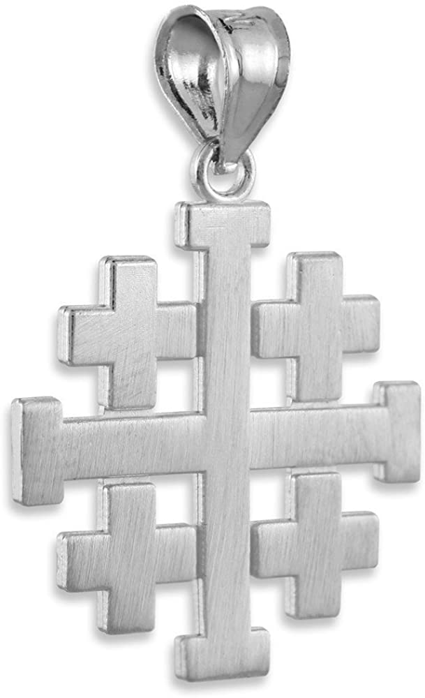Religious Jewelry by FDJ Matte Finish 925 Sterling Silver Crusaders Jerusalem Cross Pendant