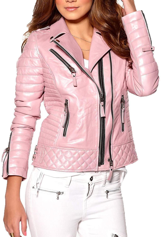 Womens Stylish Genuine Lambskin Motorcycle Bomber Biker Leather Jacket WJ 20