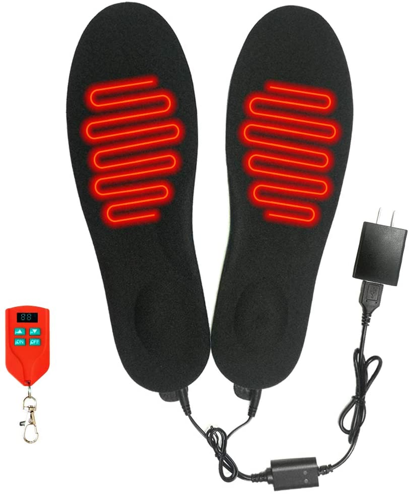 J JINPEI Rechargeable Heated Insoles Foot Warmers with Wireless Remote Control, Winter Insoles Shoe Pad Insoles Men and Women for Hunting Fishing Hiking Camping Ski
