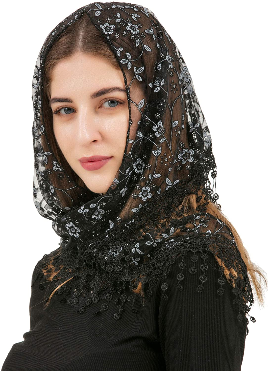 Pamor Triangle Lace Veil Mantilla Cathedral Head Covering Chapel Veil for Mass Wedding Bridesmaids
