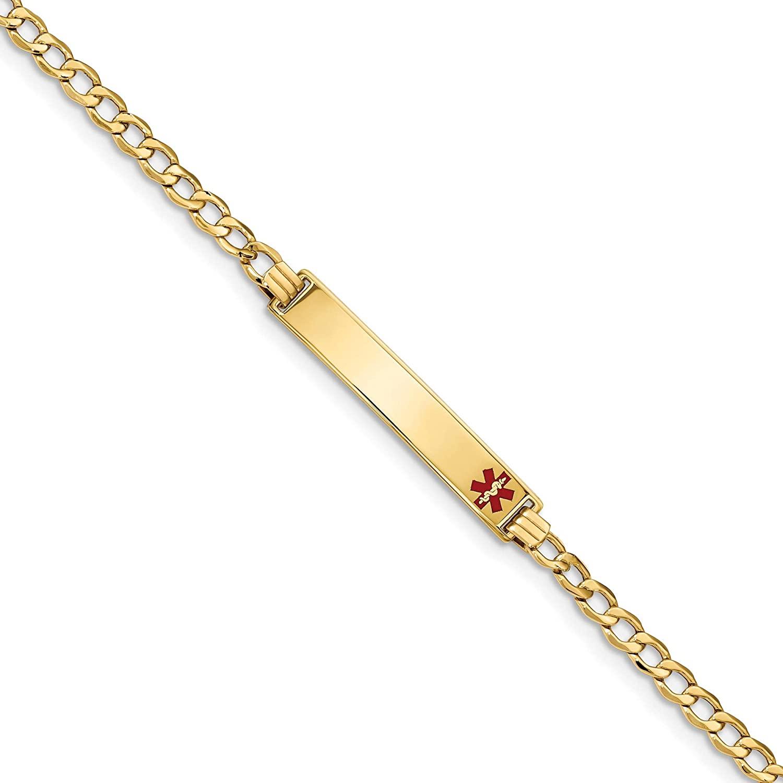 Bonyak Jewelry 14K Medical Polished Red Enamel ID with Semi-Solid Cuban Bracelet in 14k Yellow Gold