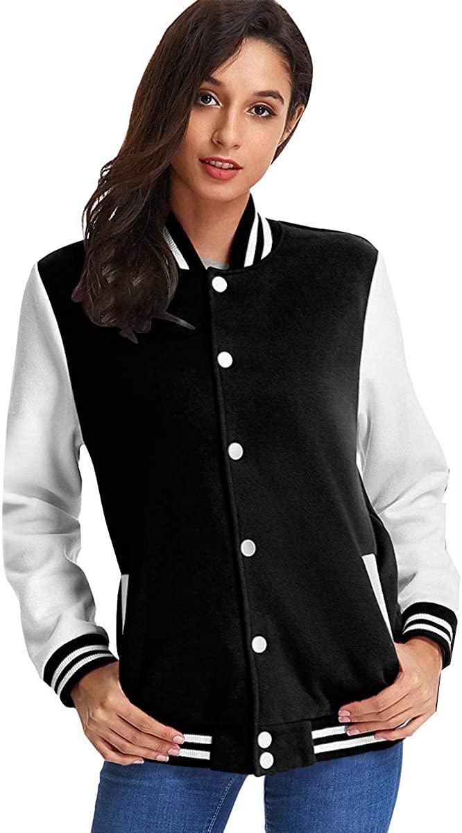 Thomahoms Nightwish Womens Long Sleeve Baseball Bomber Jacket Music Windbreaker Outerwear