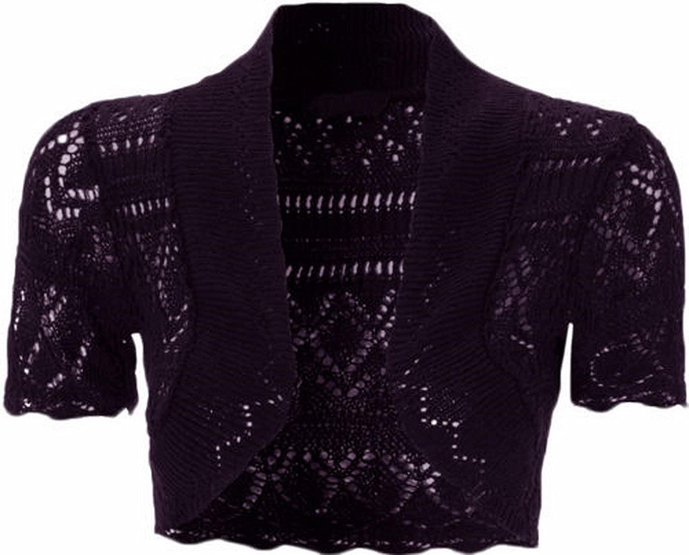 Womens Knitted Bolero Shrug Short Sleeve Crochet Shrug (L, Purple)