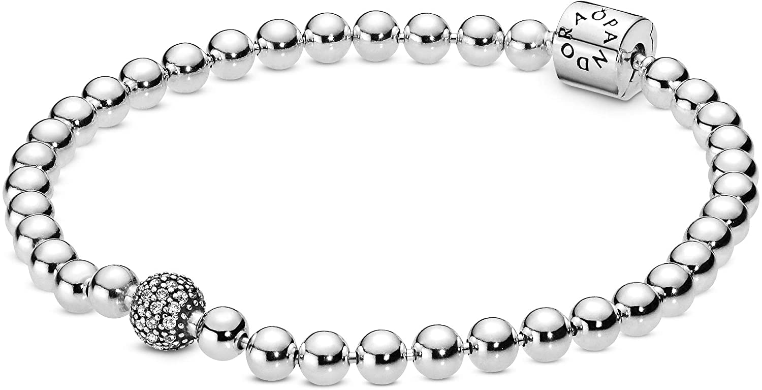 Pandora Jewelry Beads and Pave Cubic Zirconia Bracelet in Sterling Silver, 7.5