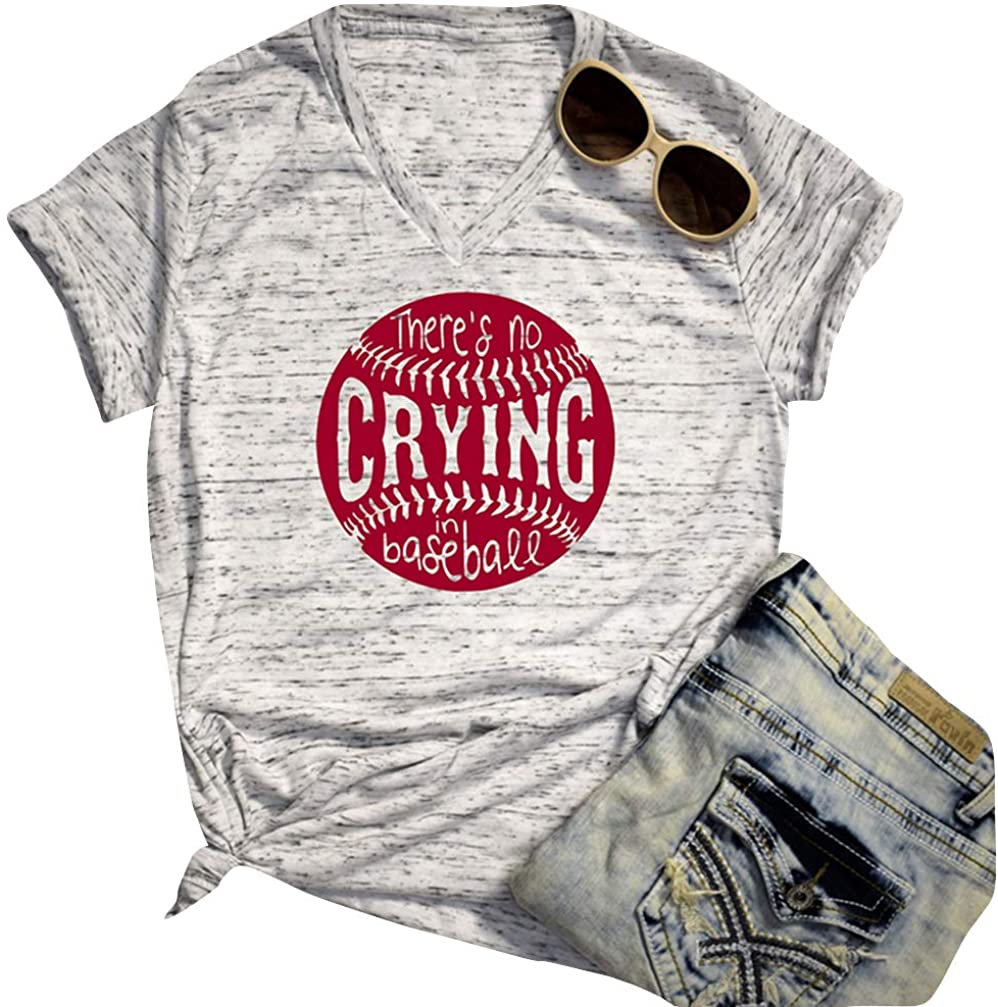 There's No Crying in Baseball Shirt Women Short Sleeve V Neck Casual Tee Blouse