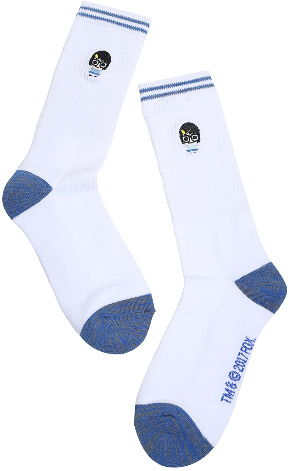 Bobs Burgers Young Tina Belcher White & Blue Crew Socks
