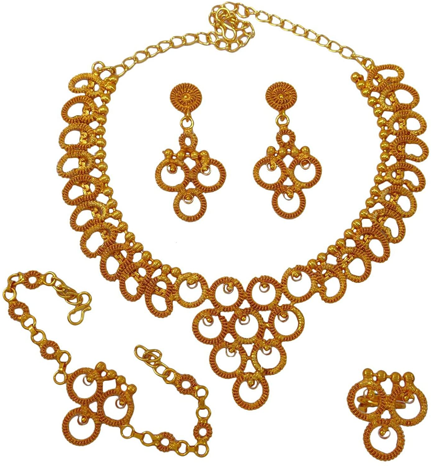 Banithani Indian Gold Plated Traditional Necklace Earring Set Jewelry Gift for Women