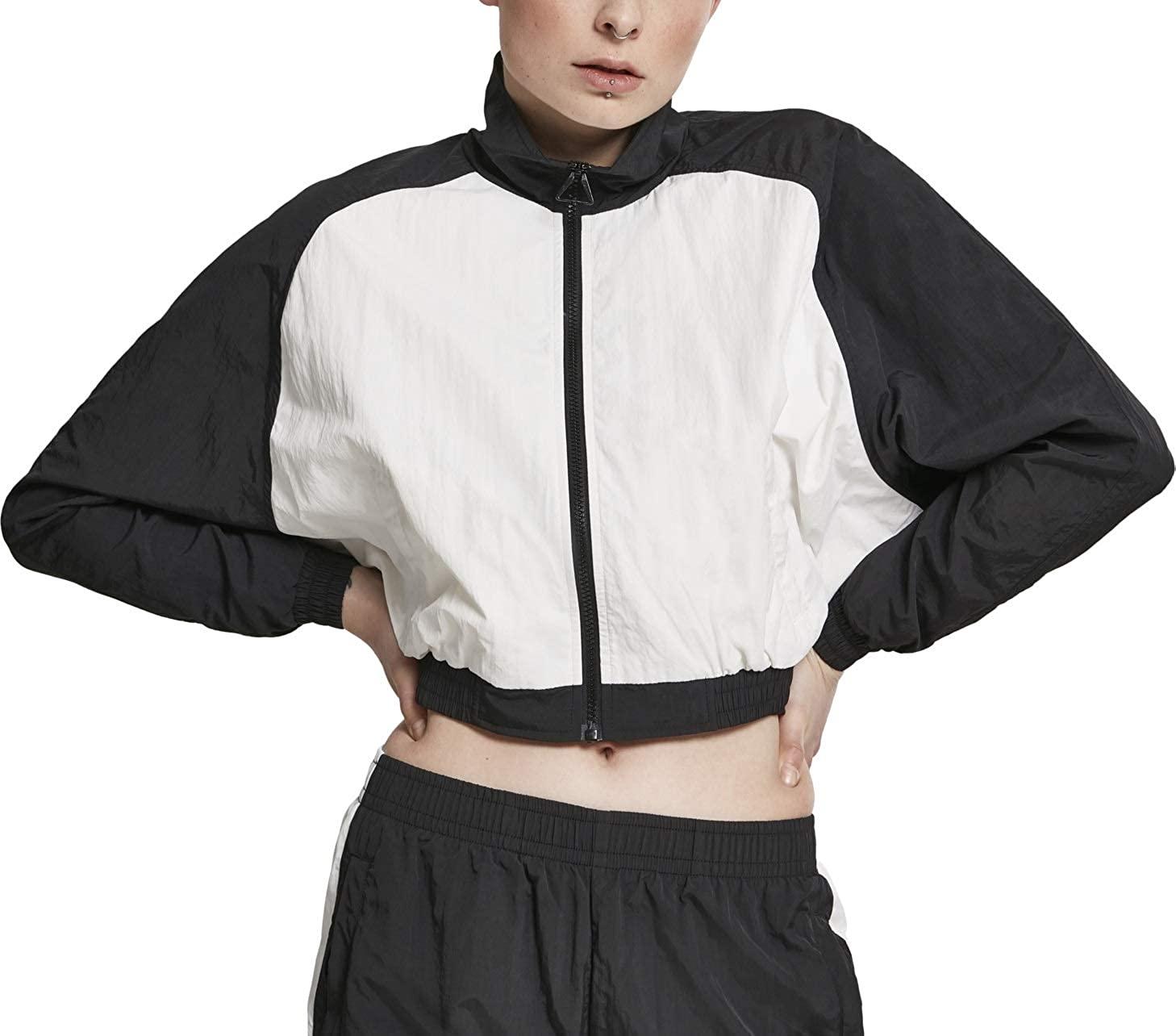 Urban Classics Women Track Jacket Short Raglan Crinkle Batwing