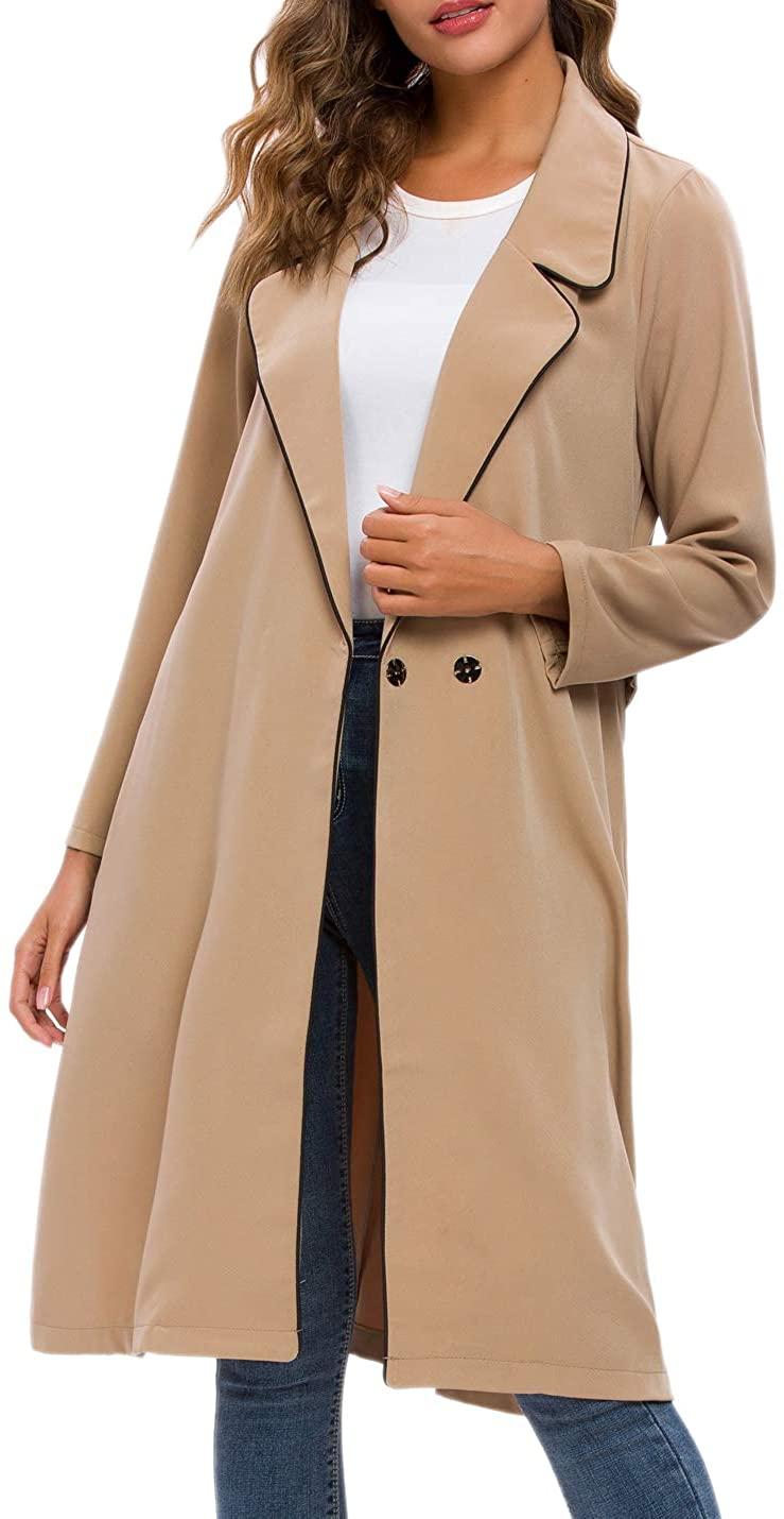 RIKILIO Women's Trench Coat Notch Lapel Windbreaker Long Pea Coat with Belt S-XXL