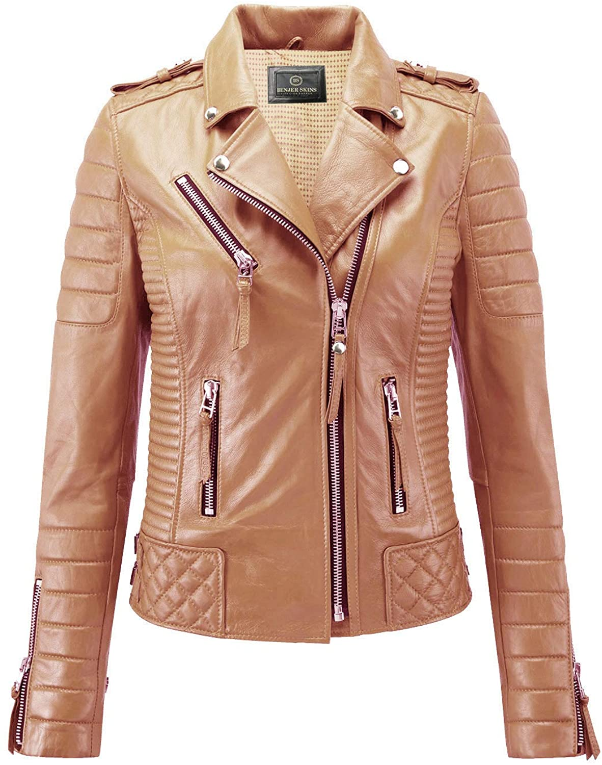 Benjer Skins Women's Leather Jacket Motorcycle Racing Cafe Racer Biker Jacket Camel Beige