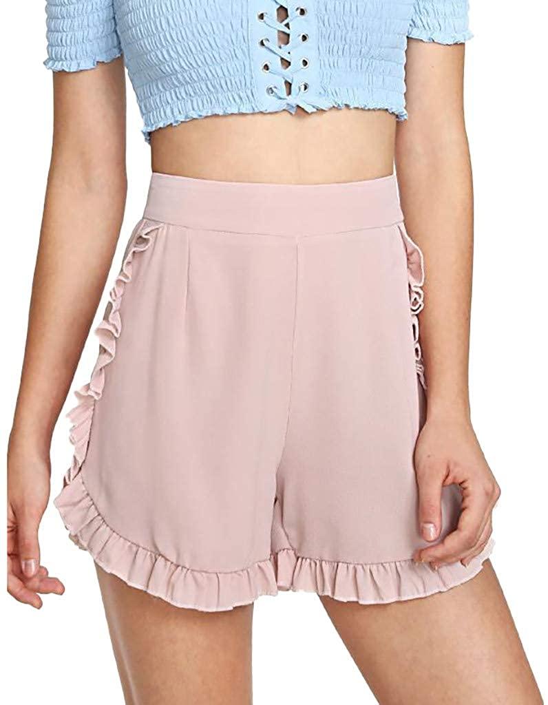 Jumaocio Solid Elastic Waist Scalloped Casual Fitted High Waist Shorts