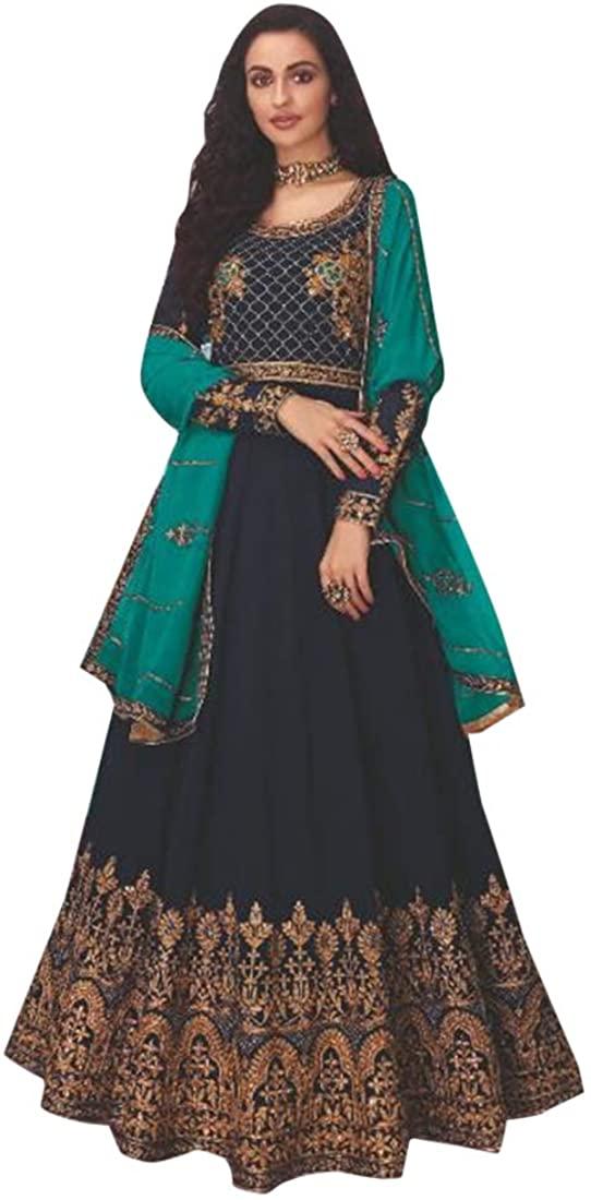 Navy Blue Designer Georgette Anarkali Suit Long Women Dress Indian Ethnic Traditional Party Wear Wedding 9151