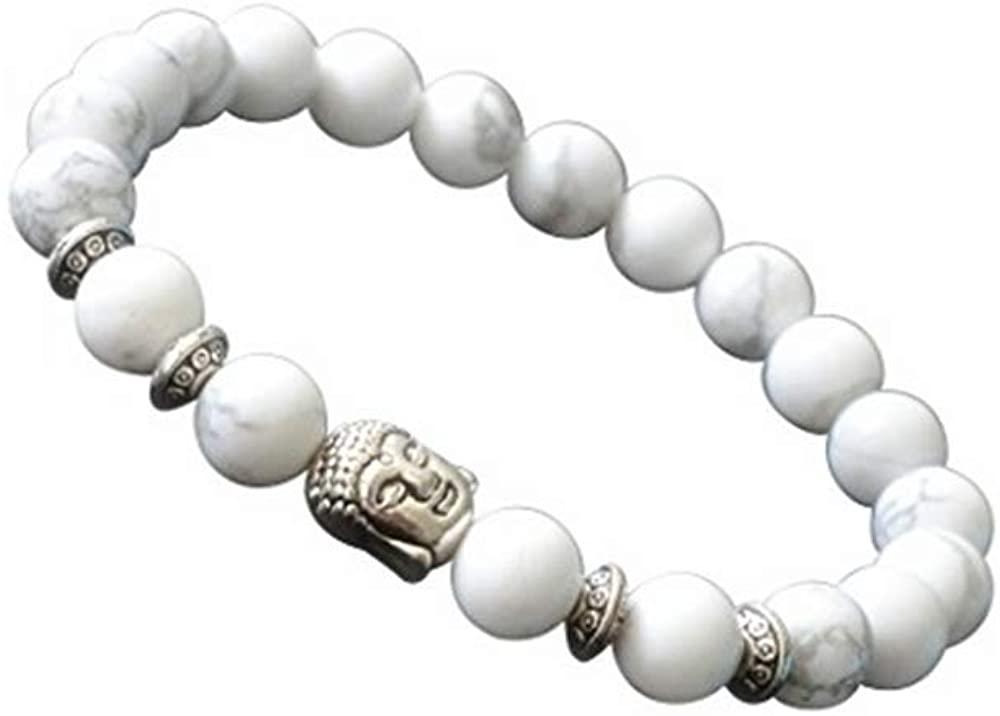 Joya Gift Natural Howlite 8MM Round Beads Buddha head Gemstone Chakra Bracelet for Women Charms Men Jewelry