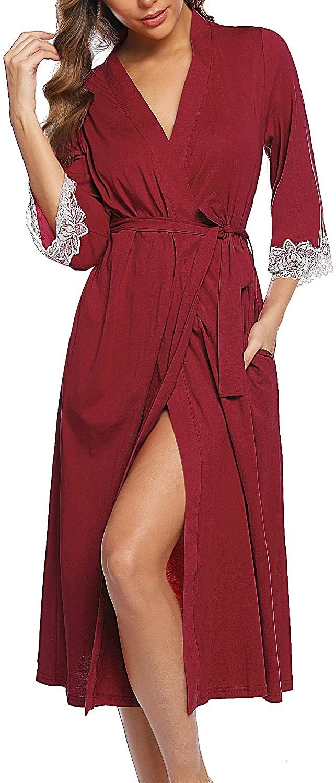 UUANG Womens Cotton Kimono Robes Lightweight Long Robe 3/4 Sleeve Knit Bathrobe Soft Sleepwear Ladies Loungewear