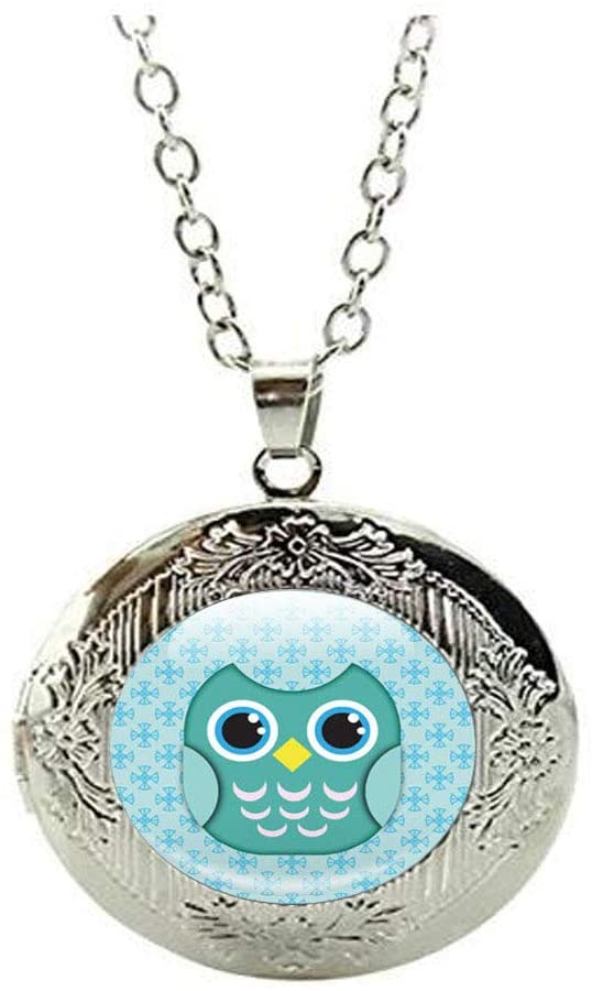 Owl Locket Necklace, Green Blue Cartoon Owl Locket Necklace Gift