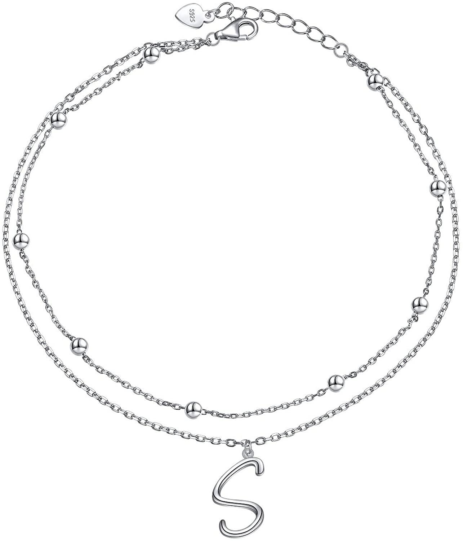 Anklet for Women S925 Sterling Silver Adjustable Foot Ankle Bracelet with Initials Anklets for Girls