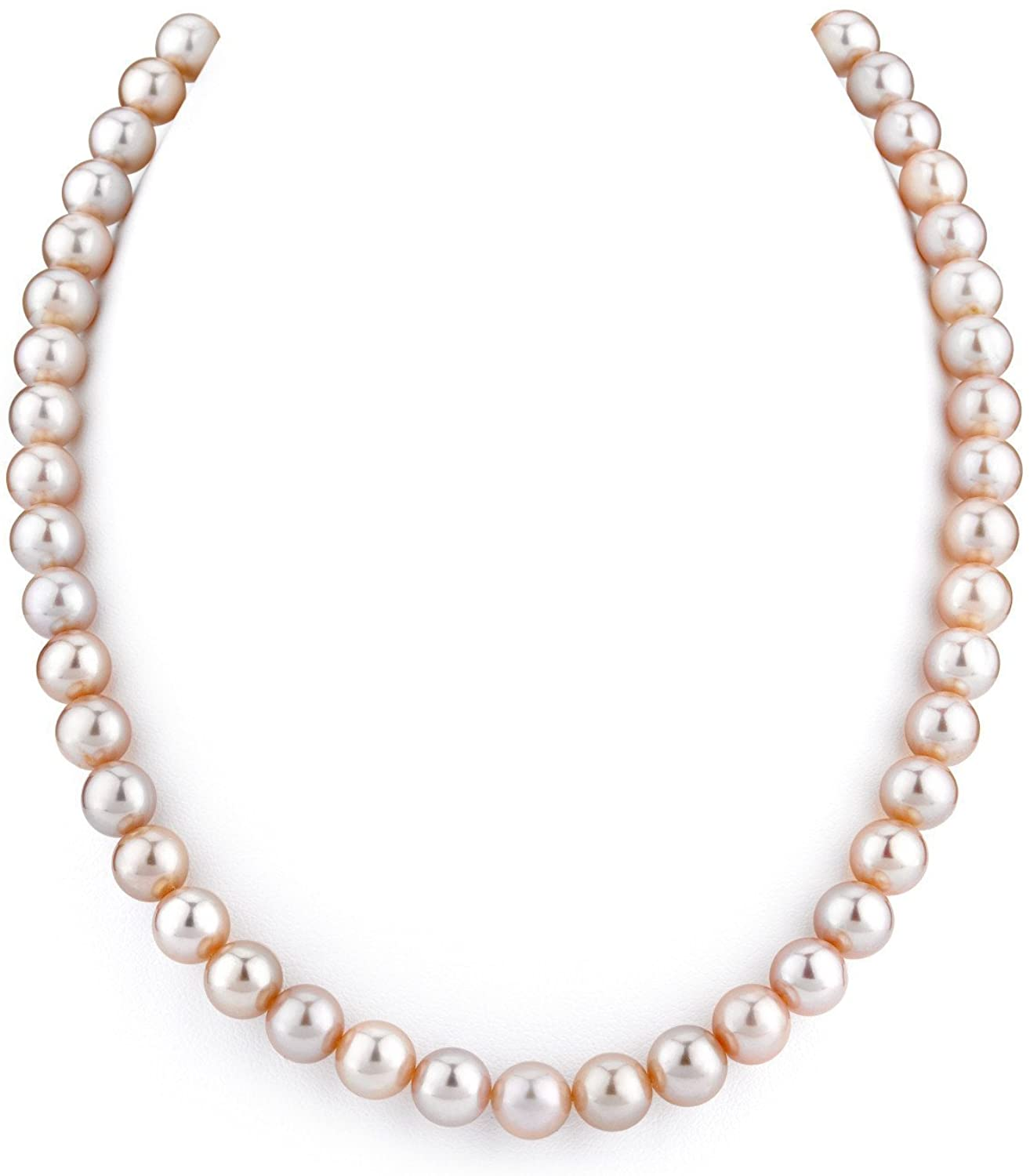 THE PEARL SOURCE 14K Gold 8-9mm AAAA Quality Pink Freshwater Cultured Pearl Necklace for Women in 18