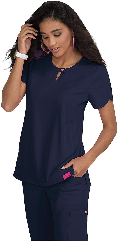 KOI Betsey Johnson 2-Pocket Keyhole Neck Zinnia Scrub Top for Women Navy 3XL