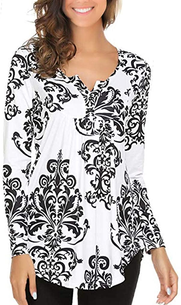 Twojoce Women's Long Sleeve Henley V Neck Pleated Button Flare Tunic Blouse Shirt