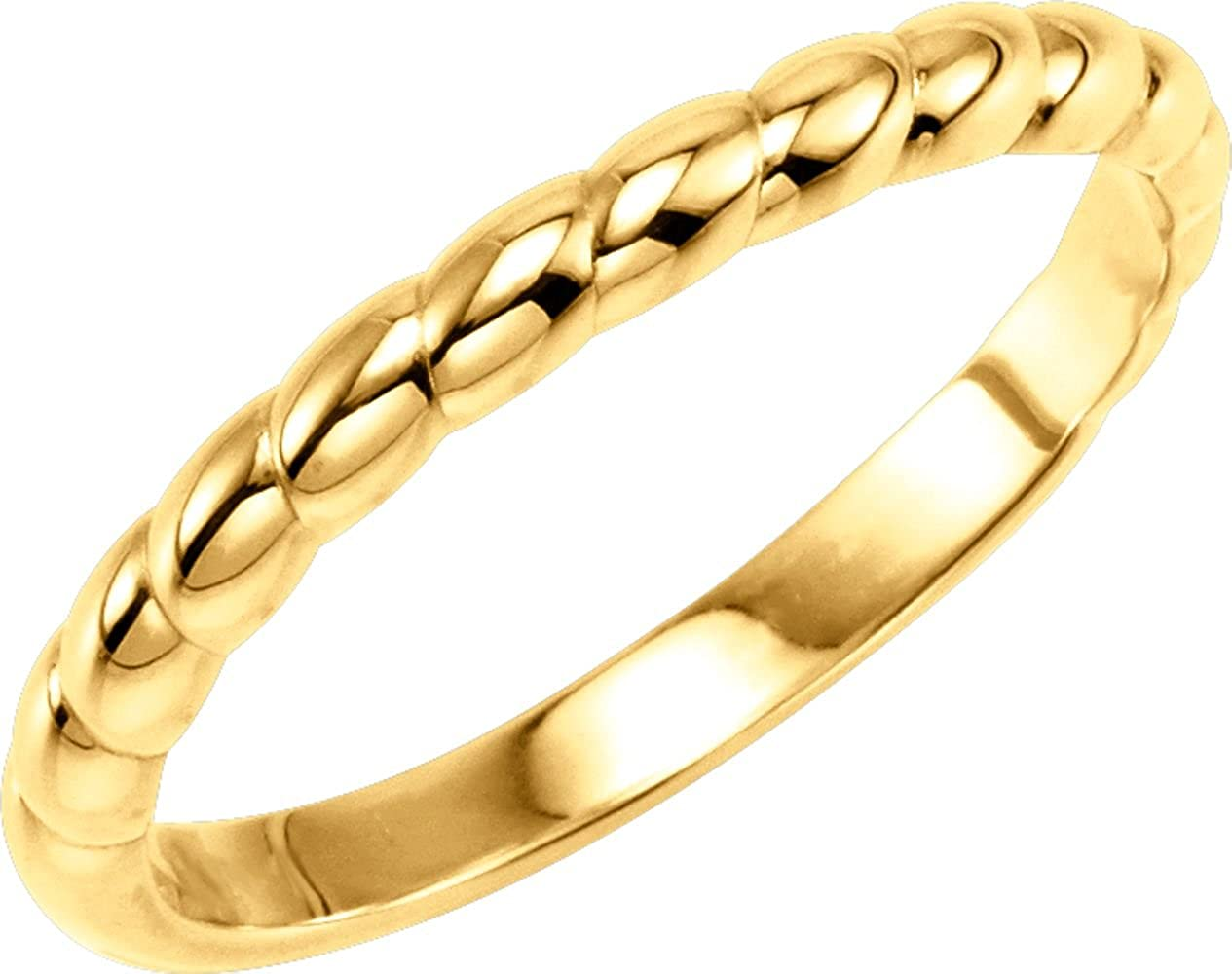 Stackable Metal Fashion Ring in 14k Yellow Gold ( Size 6 )