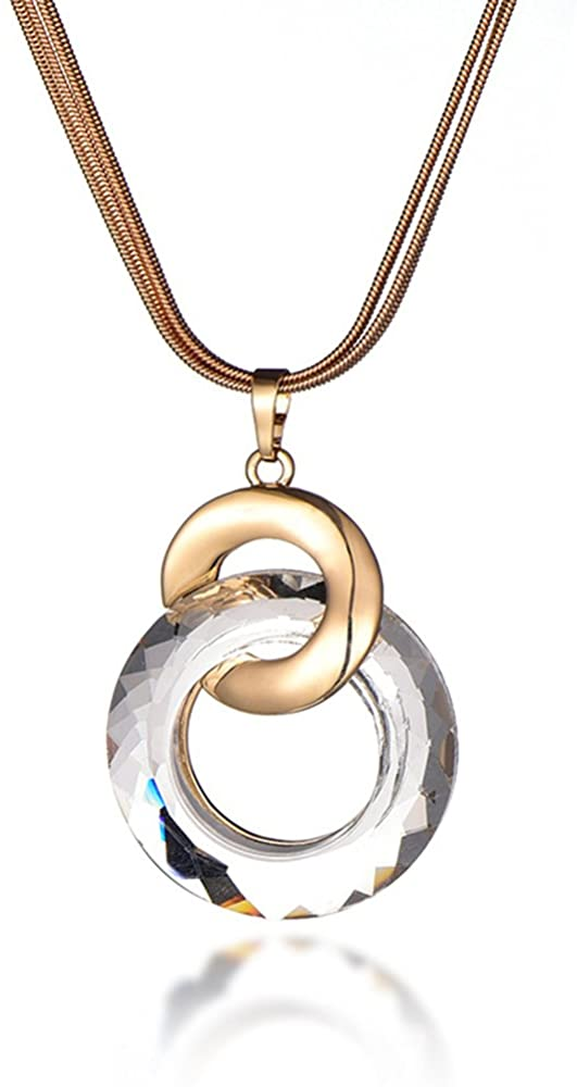 YOYOMA Women's Necklace,Brilliant Crystal Pendant Necklace for Girls Long Chain Necklace CZ Necklace