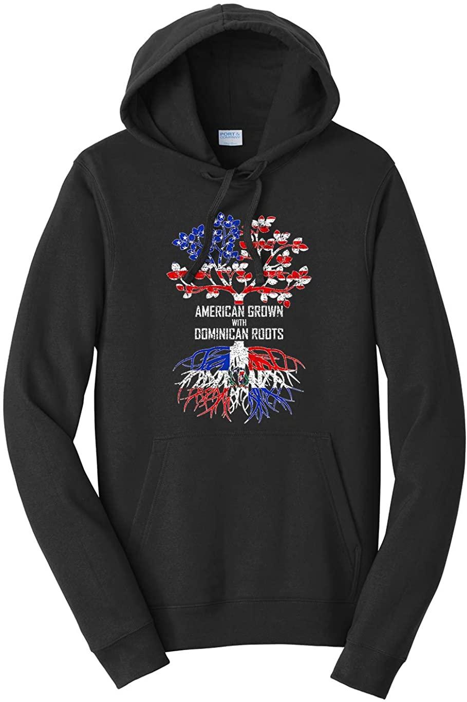 Tenacitee Unisex American Grown with Dominican Roots, Dominican Republic Hooded Sweatshirt