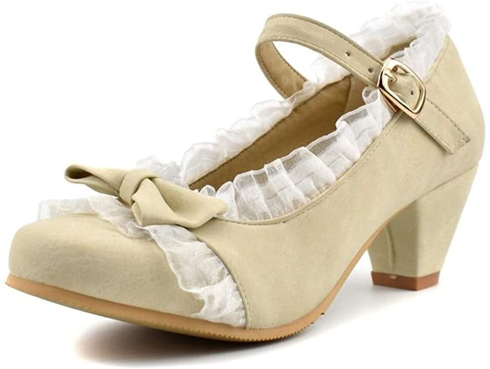 MFairy Women's Low Heel Round Toe Mary Jane Shoes Vintage Cute Bow Cosplay Shoes