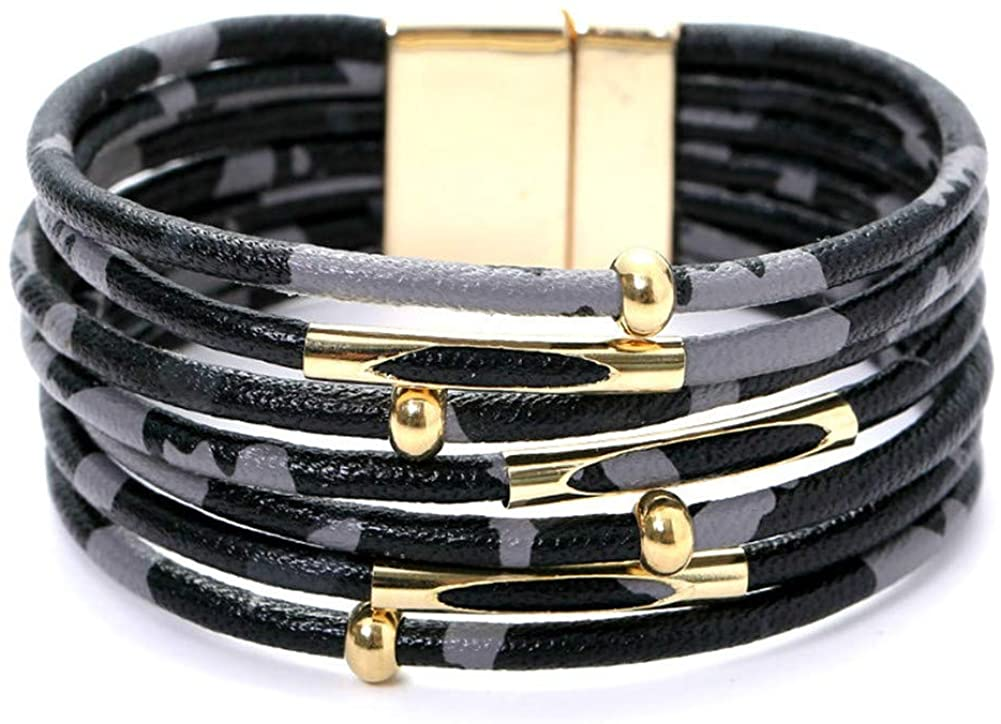 BBL Leopard Leather Bracelet for Women Multilayer Wrap Bracelet Wide Cuff with Magnetic Clasp