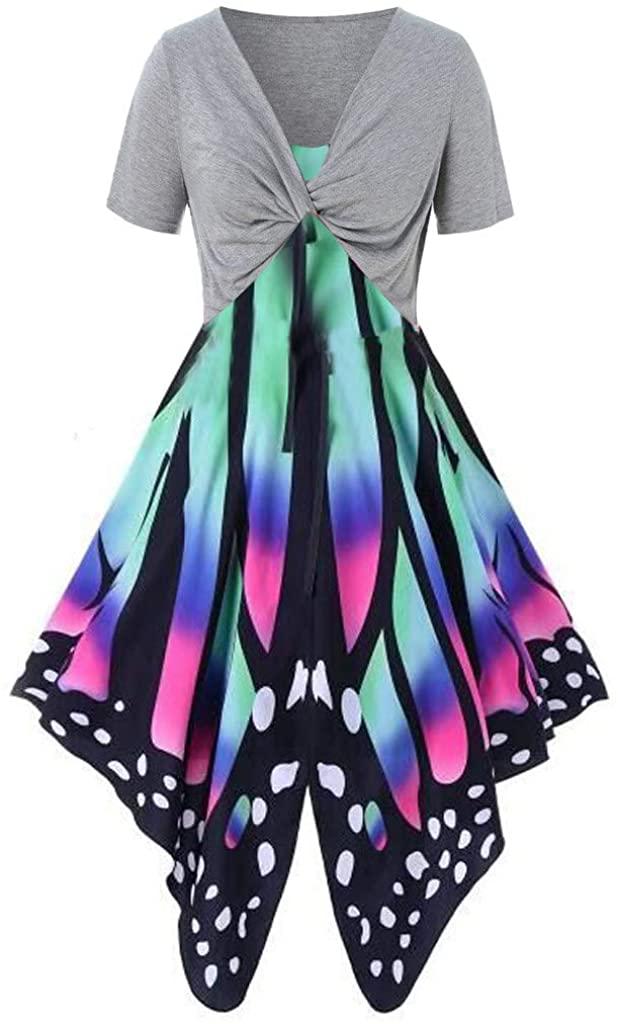 LEKODE Women Dress Butterfly Printed Fashion Jumpsuit Sling Skirt