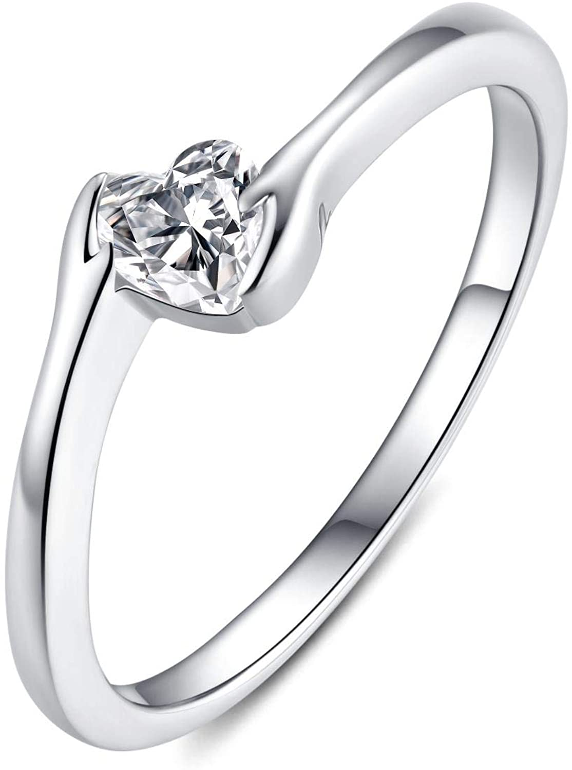 Presentski Promise Rings for Women, 925 Sterling Silver CZ Heart Solitaire Engagement Ring Valentines Day Birthday