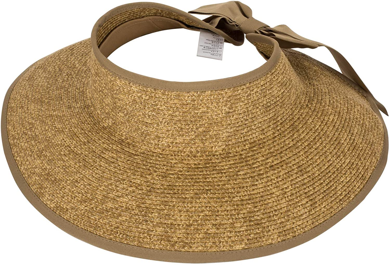 """Open Straw Hat Foldable, Sun Visor with Bow for Women, 4.2"""" Wide Brim Hat Packable, UV UPF 50+,Travel Beach Hat for Summer"""