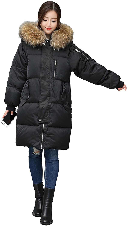 ANRISE Black Women's Thickened Medium Down Jacket with Fur Hood